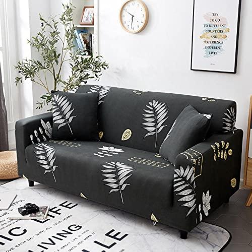 Funda elástica para sofá de 2 plazas, fundas de sofá elásticas de poliéster y elastano impresas, fundas de sofá, fundas de muebles antideslizantes, color gris, hojas de coco