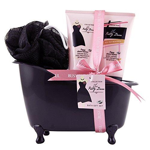 GLoss - Coffret De Bain Pour Femme - Baignoire de bain noire incluant une fleur de douche - Collection The Pretty Dress - Fleur de Pivoine et Patchouli