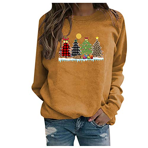 Sweater for Women Christmas Tree Graphic Print Round Neck Shirt Autumn and Winter Long Sleeve Casual Shirt Gold