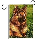 Bandera de bienvenida al jardín(28x40in)Decoración exterior de patio vertical de doble cara,perro pastor aleman retrato