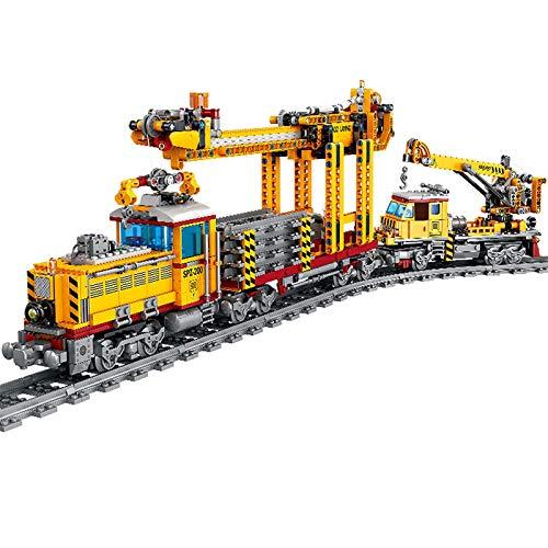 HLONGG 1270 + Parts City Freight Train Block Block Modelo con Rieles, Tren De La Ciudad con Motores Y Conjunto De Iluminación LED, Compatible con Lego,Amarillo