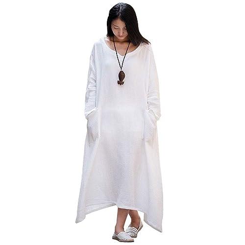 8d80782143 Soojun Women s Casual Cotton Linen Long Dress with Batwing Sleeve