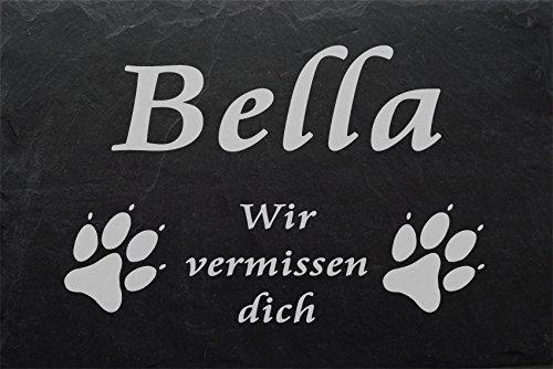 """Schiefertafel mit wetterfester Lasergravur des Motives """"Hundepfoten-001"""" und Ihrem Text/Daten in der gewünschten Schriftart z.B. als Grabplatte auf das Grab oder als Gedenkentafel für Zuhause von LaserArt24"""