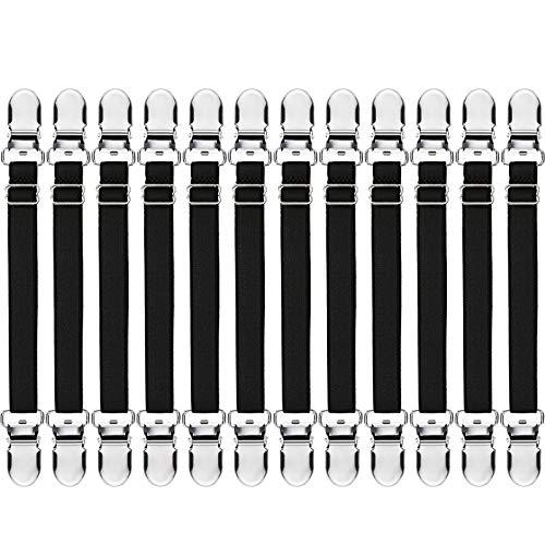 12 Stück elastische Bügelbezug-Verschlüsse, Bett-Eckhalter, Laken-Gurt, Sofaklemme, Tischdecken-Clips, Stiefel-Clips, Bein-Riemen, Stiefel-Clips für Jeans schwarz