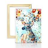 decalmile Pintura por Número de Kits DIY Pintura al óleo para Adultos Niños Ciervos de Colores 16'X 20' (40 x 50 cm, con Marco de Madera)