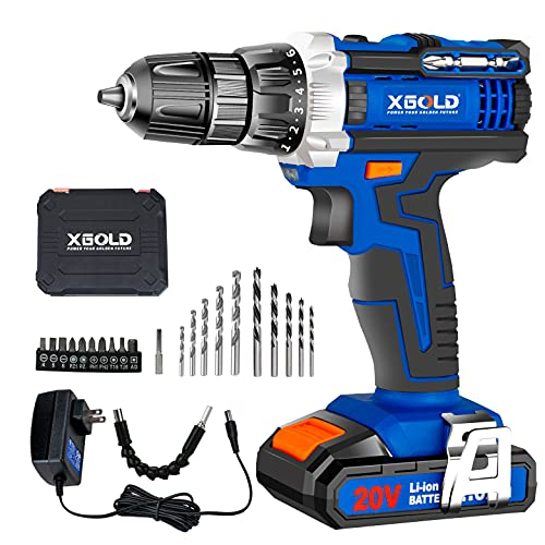 Power Impact Drivers/Screwdriver, 20V 2.0Ah Cordless Drill With Variable Speed, Max 260 In-lbs 18+1 Torque Setting, Electric Power Drill Driver Set 3/8' Keyless Chuck, CVT & Brake Function Tool Kit