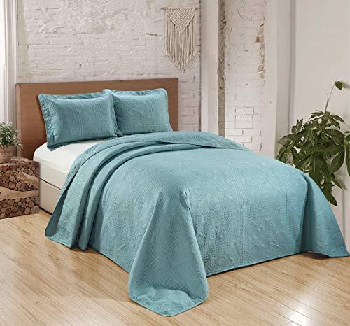 Fancy Collection 3–Colcha edredón cubierta cama con relieve sólido Spa azul Over Tamaño nuevo