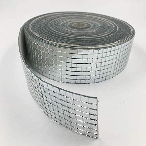 Lijing Roll - Mini espejos cuadrados y redondos de cristal autoadhesivos, para manualidades, bola, decoración del hogar