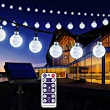 Solar Garden Lights Outdoor with Remote, 60 LED 36ft Waterproof String Lights Solar Powered Crystal Ball Decorative Lights for Garden,Patio,Yard,Home,Chrismas Tree,Parties,White, 36feet