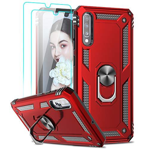 LeYi für Samsung Galaxy A70/A70s Hülle Handyhülle mit Panzerglas Schutzfolie(2 Stück),360 Grad Ringhalter Cover TPU Stoßdämpfung Schutzhülle für Hülle Samsung A70 Handy Hüllen Rot