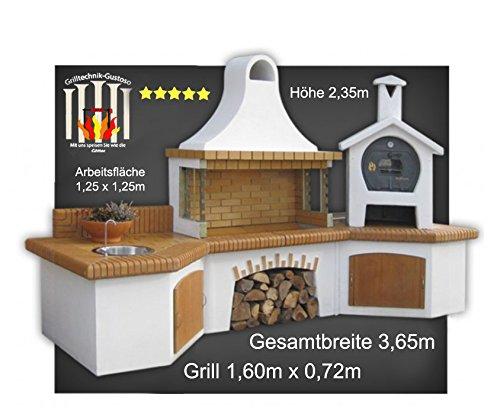 Steingrill Grillkamin mit Backofen Waschbecken braun Luxus Theofanes