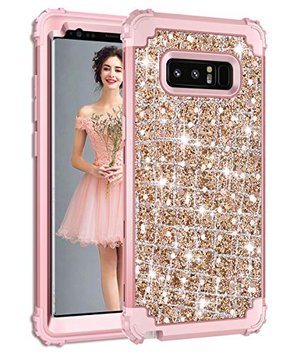 Hekodonk Compatible Galaxy Note 8 Case, 3D Luxury Sparkle Glitter Shiny Heavy Duty Shockproof Full-Body Protective Cover High Impact Armor Hybrid Case for Samsung Galaxy Note 8 - Bling Rose Gold