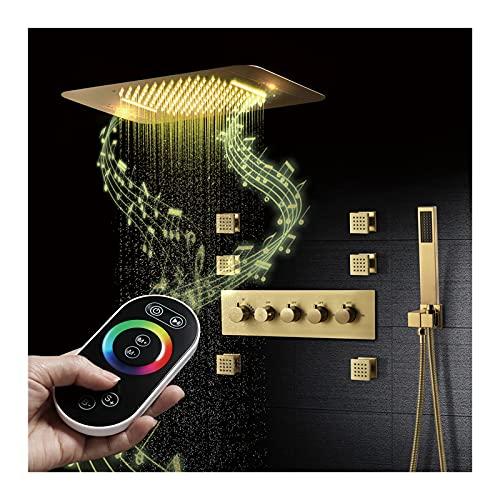 Termostática Sistema de Ducha 64 Colores LED Oro Cepillado Conjunto de Ducha Música Columna de Ducha con Alcachofa de Ducha, Alcachofa de Mano, Chorros de Masaje
