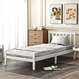 æ— Marco de cama de madera para cama individual, marco de madera maciza de 90 x 190 cm, color blanco