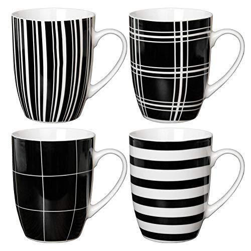 Van Well - Juego de 4 tazas con asa (300 ml, porcelana), diseño de rayas, color blanco y negro