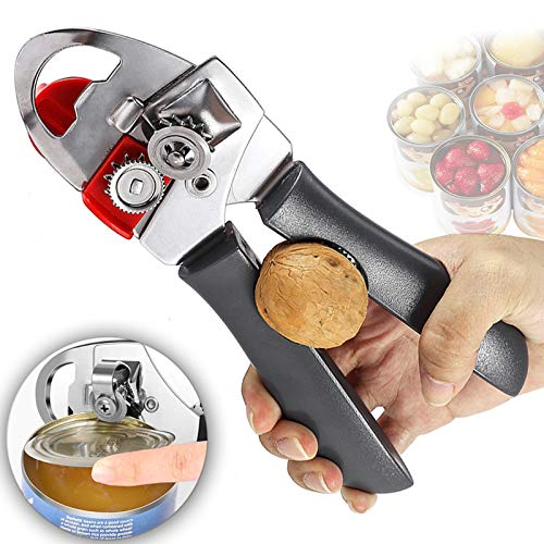 Manual Can Opener, Premium Comfortable Grip, Oversized Easy Turn Knob, Smooth Edges, Hangs for Convenient Storage, Built in Bottle Opener, Sharp Blades Easily Open Tin Cans. (Gray)