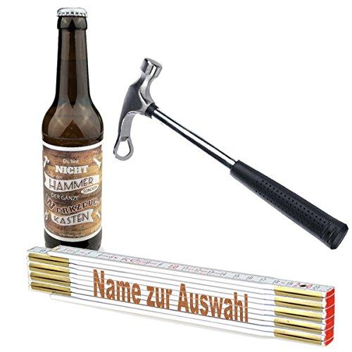 3-teiliges Geschenkset/Zollstock mit Namens-Gravur, Handwerker-Bier und Flaschenöffner,Hammer'/ Echte Kerle/Männergeschenk/Handwerker/Vatertag/Geburtstag, Zollstöcke Namen:Konrad