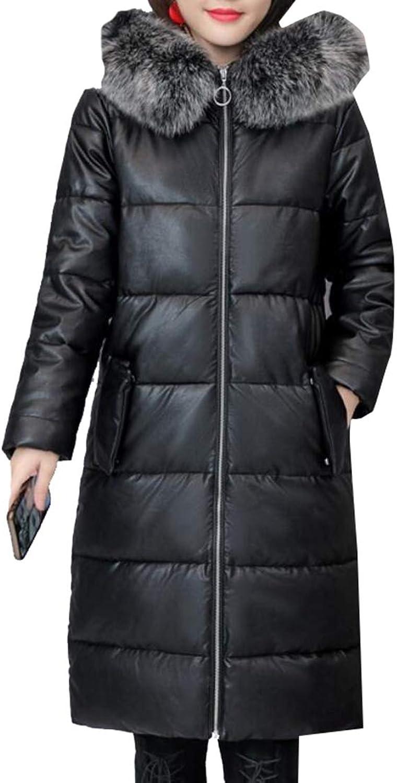 Esast Women Down Alternative Long Belted Puffer Coat Fur Trim Detachable Hood