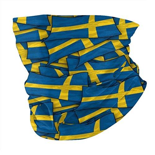 Bandera de Suecia Wave Collage Summer BandaFace Cover - Pasamontañas Bufanda Polvo Sol Protección UV Pesca Cuello Polaina - Para Hombres Y Mujeres Negro