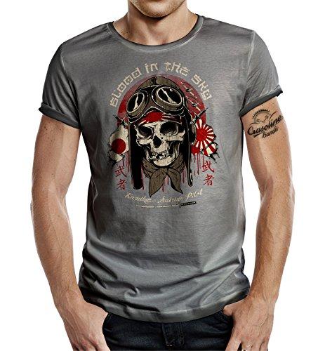 Körperbetontes Slimfit Biker Racer T-Shirt im Used Vintage Look: Kamikaze - Blood in The Sky L