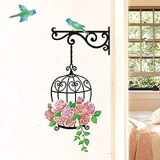 Adhesivos de pared para nevera, diseño de jaula de pájaros extraíble