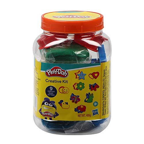Play-Doh Creative Kit in a Jar Arts and Crafts Toy for Kids 3 Years and Up with 4 Pouches of Non-Toxic Play-Doh Compound