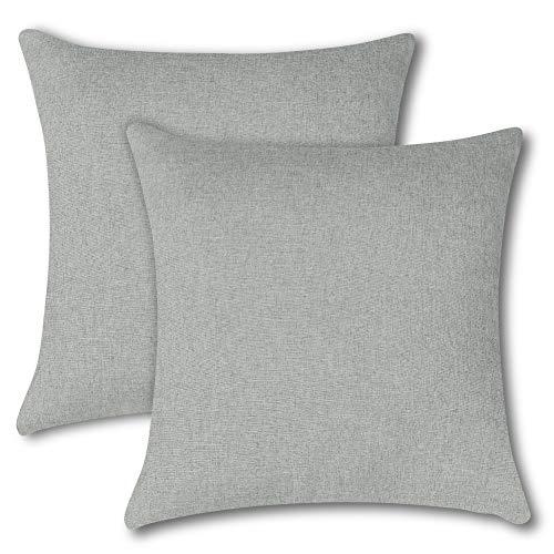 Soleebee クッションカバー 45×45CM 北欧 防水 無地 装飾枕カバー ソファ背当て 座布団カバー 2枚セット (ライトグレー)