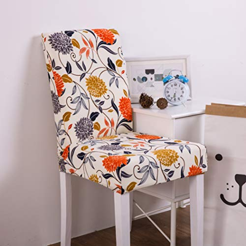 NIKIMI Stretch Removable Dining Chair Cover Modern Printed Anti-Dirty Seat Slipcover High Elasticity Spandex Seat Case