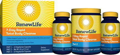 Renew Life Adult Cleanse - 7-Day Rapid Total Body Cleanse for Men & Women - 3-Part, 7-Day Program - Gluten, Dairy & Soy Free - 28 Vegetarian Capsules + 2.2 Ounce Powder Formula (Packaging May Vary)