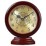 Reloj de escritorio silencioso retro, reloj de manto decorativo para el hogar, relojes de mesa silenciosos, funciona con pilas, para sala de estar, dormitorio, mesita de noche, cocina (color: madera-