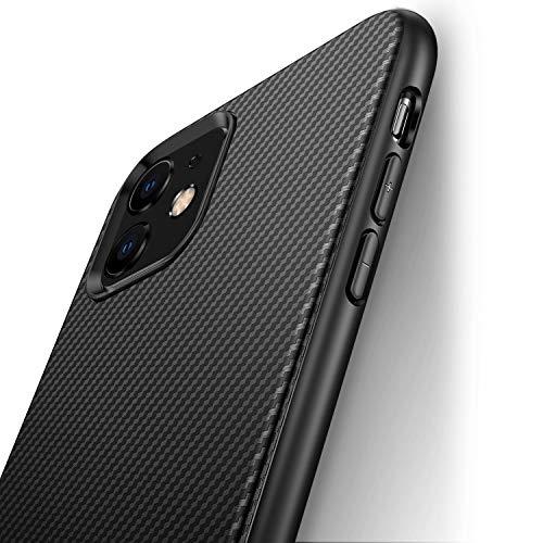 J Jecent Cover iPhone 11 [Look in Fibra di Carbonio] Custodia Protezione in Morbida Silicone TPU [Anticaduta Antiscivolo AntiGraffio Antiurto] Case per iPhone 11 di 6.1 Pollici (2019) - Nero