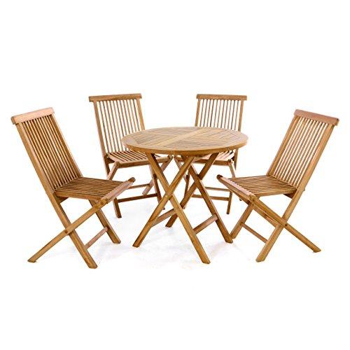 Nexos Trading Divero 5 TLG. Gartenmöbel Balkonset Klappstuhl Tisch rund Ø 80cm Teakholz Sitzgarnitur behandelt