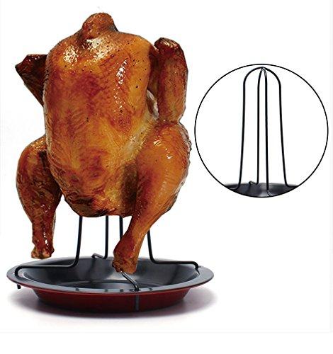 Asador de pollo vertical con base antiadherente recoge salsa para barbacoas hornos, asados leña en su punto de OPEN BUY