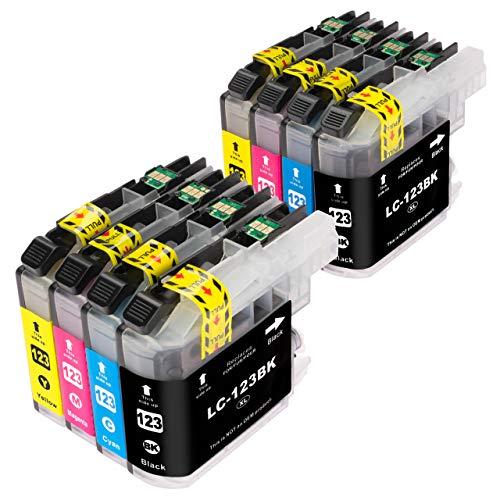 ESMOnline komp. Druckerpatronen (4 Farben) für Brother MFC J245 J870DW J4410DW J4510DW J4610DW J470DW J4710DW J650DW J6520DW J6720DW J6920DW DCP J132W J152W J4110DW J552DW J752DW (LC123) (8er Set)