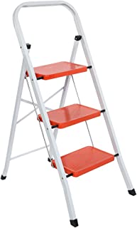 LUISLADDERS 3 Step Ladder Folding Step Stool Heavy Duty Ladders with Handgrip Anti-Slip Sturdy and Wide Pedal Multi-Use for Home and Kitchen 330lbs