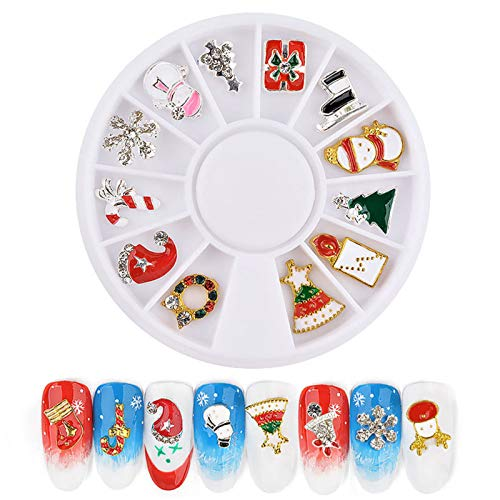 Benedict Merry Christmas Nail Art Alloy Metal Charms Jewelry 3D DIY Decoration Mix Shape