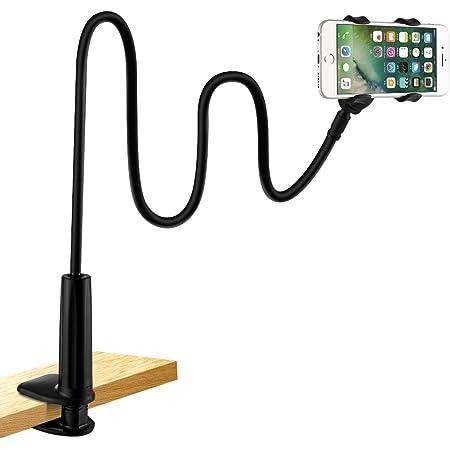 Supporto per Cellulare,Lonzoth Cellulare Supporto a Collo di Cigno Supporto universale per iPhone Smartphone Cellulare Tablet 360 Gradi Rotazione (Bianco) (Supporto per Telefono|Black)