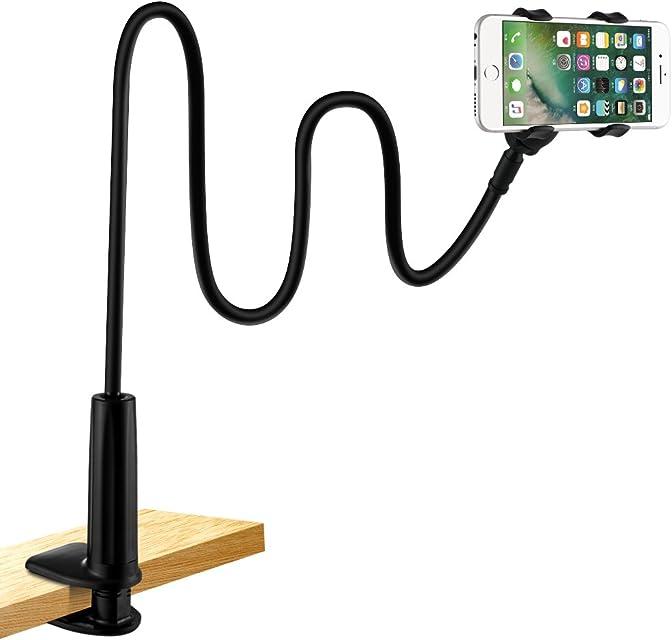 Soporte para teléfono móvil lonzoth Teléfono Móvil Soporte Cuello de cisne Soporte universal Soporte para iPhone Smartphone Teléfono Móvil (Phone Stand Black)