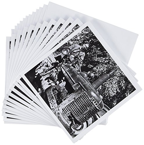 3dRose Vintage Farnall Tractor Black and White - Greeting Cards, 6 x 6 inches, set of 12 (gc_8480_2)