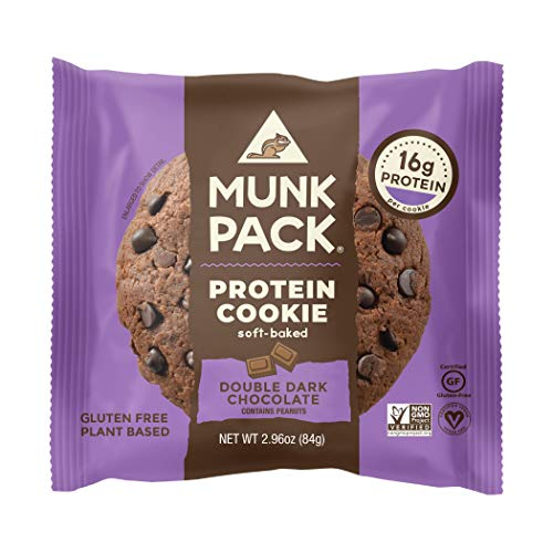 Munk Pack Protein Cookie, Double Dark Chocolate, 12 Pack, 16 Grams of Protein, Soft Baked, Pantry Friendly, Vegan, Gluten Free, Dairy Free, Soy Free