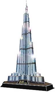 CubicFun 3D Puzzles Architecture LED Building Model Kits, Burj Khalifafor Lighting Up in Night
