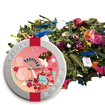 Lupicia MOMOKO 50g Loose Leaf Tea in Collector's Tin (White peach Green tea) US exclusive