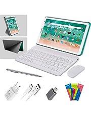 Tablet, 8 inch, Android, 10 Pie, 3 GB RAM + 32 GB ROM/128 GB uitbreidbaar, Google GMS-gecertificeerd, WLAN, Bluetooth, dubbele camera, tablet, pc met muis, toetsenbord (groen)