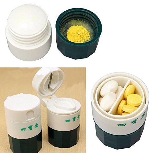 Bbl345dLlo- Pastillero portátil para uso diario, semanal, práctica pastillas, cortador de medicamentos, molinillo y triturador de medicamentos, caja organizadora – blanco + verde militar
