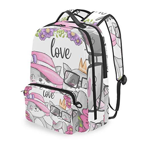 Mochila con bolsa de cruz desmontable conjunto de dibujos animados lindo par gato ordenador mochilas bolsa de libro para viajes senderismo camping Daypack