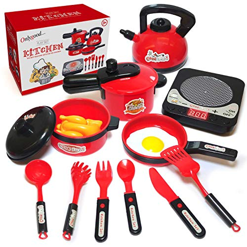 DRONEEYE Pretend Play Toy Kitchen Cooking Kit Pots and Pans Playset Kids Tiny Cooking Set with Cookware Utensils Food Toys for Toddler Boys Girls 1, 2, 3 Years Old