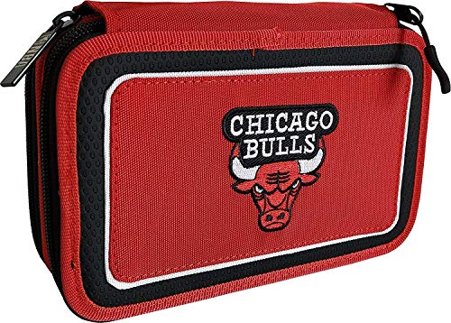 ASTUCCIO SCUOLA NBA CHICAGO BULLS 3 PIANI ZIP COMPLETO + omaggio penna glitterata + omaggio segnalibro