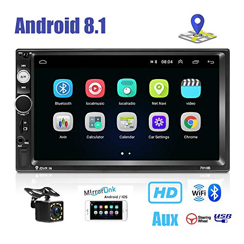 Double Din Android 8.1 Autonavigatie Stereo, 1G + 16G Car Entertainment Multimedia Radio, in Dash GPS Autoradio WiFi/Bluetooth/AUX/USB/TF, Mirror Link, 12-LED Backup Camera inbegrepen