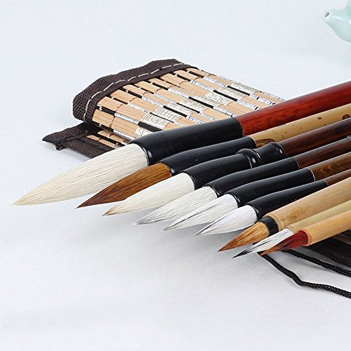 Corciosy Shanlian Hubi Writing Brush Chinese Calligraphy Brush Set Kanji Japanese Sumi Painting Drawing Brushes 10 Piece/Set+Roll-up Bamboo Brush Holder