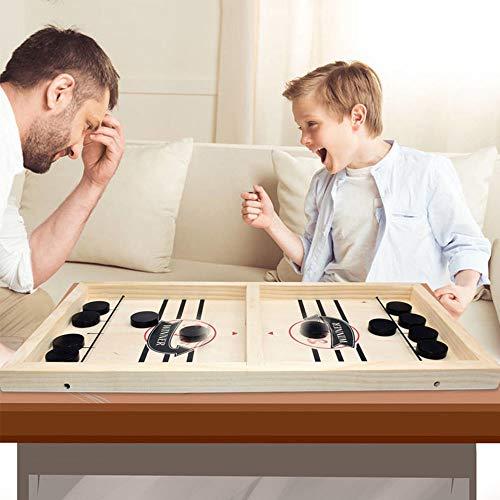 JHGG Holzhockeyspiel, Fast Sling Puck Spiel, Holz Desktop Hockey Spiel Für Kinder Und Erwachsene Erwachsenenversion